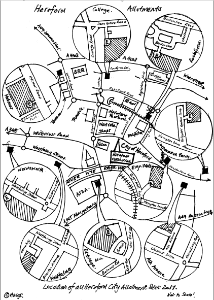 A hand drawn map showing the locations of the various Hereford Allotment Sites
